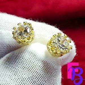 2 CTW 14k Yellow Gold Kings Crown Earrings